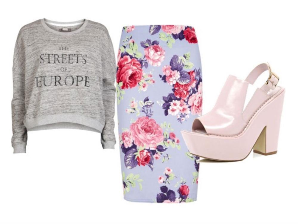 Grey sweatshirt, floral skirt, pink mules