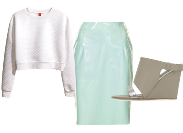 cropped sweatshirt, vinyl pencil skirt, mules