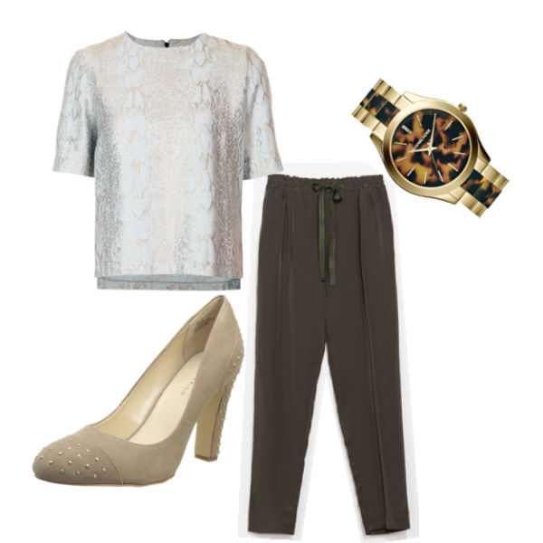 Interview outfit: silk Zara trousers, Topsho jacquard tee