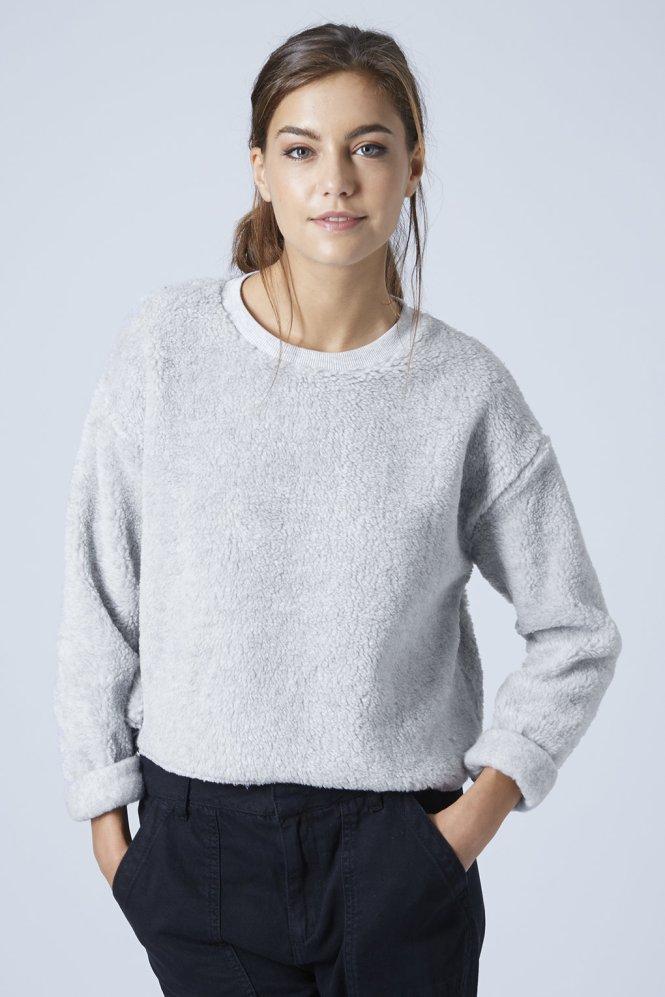 Borg faux fur sweatshirt, Topshop