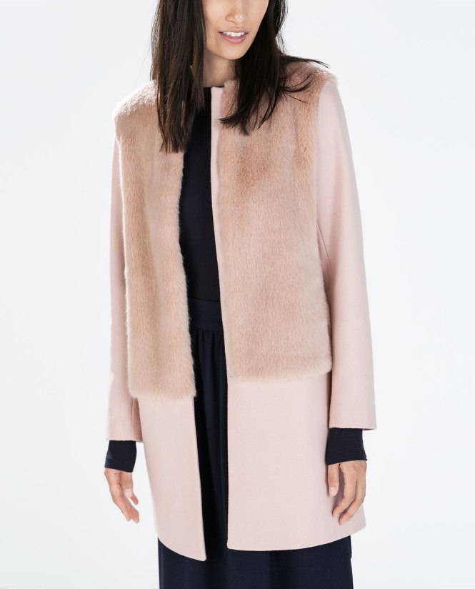 Fur and wool coat, Zara