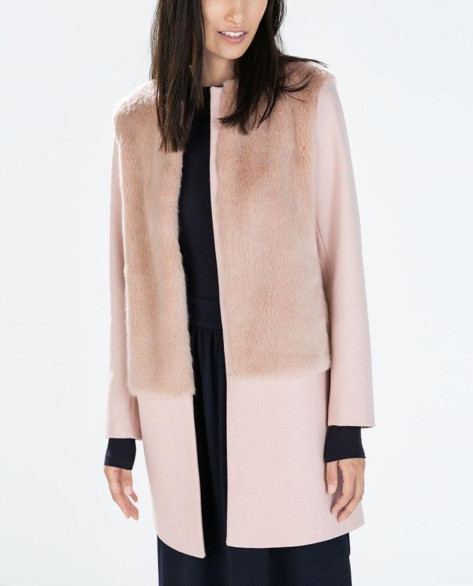 Fur and wool coat, Zara