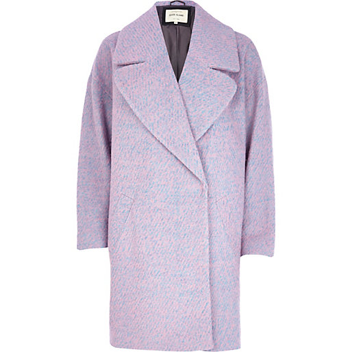 Pink oversized wool coat, River Island