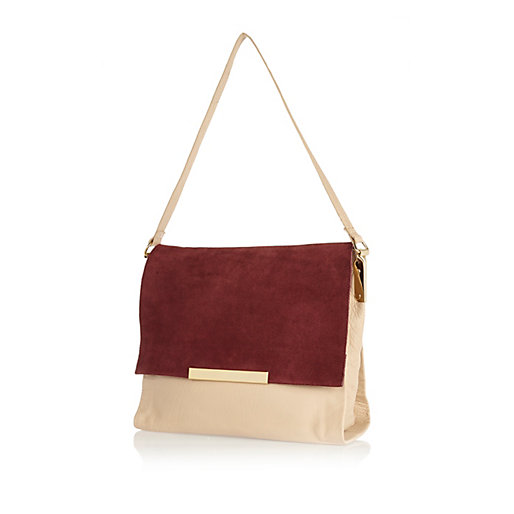 Red suede leather bag, River Island