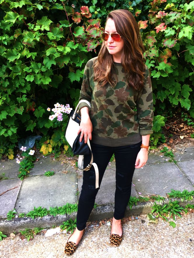 Camouflage sweatshirt, leopard shoes