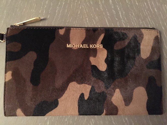 Michael Kors camouflage calf hair clutch