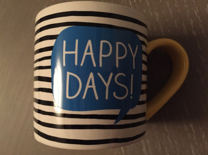 Happy Days striped mug