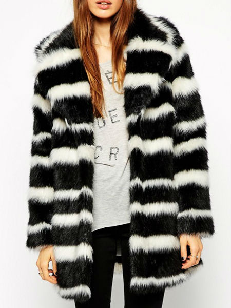 Mono stripe fur coat, Asos