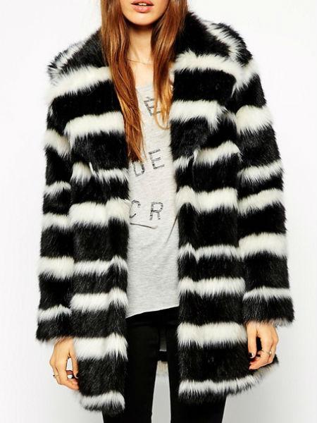 Mono stripe fur coat, Asos