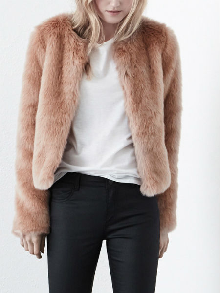 Pink fur jacket, Warehouse