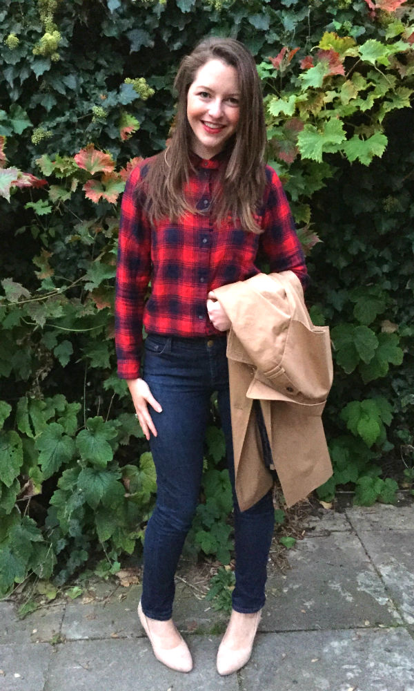 Red plaid shirt Madewell, trench coat