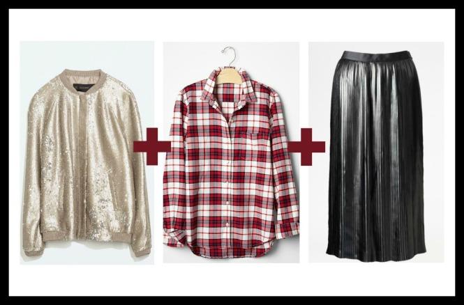 sequin bomber jacket, plaid shirt, leather skirt