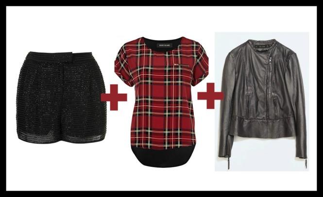 sequin shorts, tartan t-shirt, leather jacket